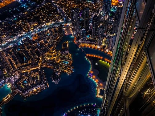 aerial photography of cityscape at nighttime
