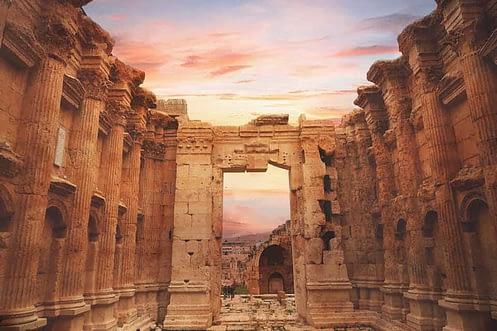 Archeological ruins in Baalbek Lebanon